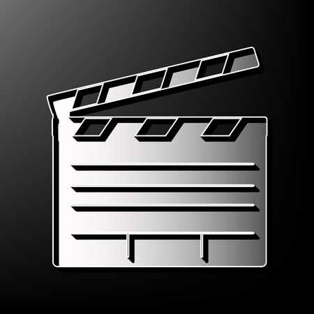 Film clap board cinema sign. Vector. Gray 3d printed icon on black background. Illustration