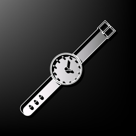 appointments: Watch sign illustration. Vector. Gray 3d printed icon on black background. Illustration