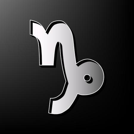 capricornio: Ilustración de signo de Capricornio. Vector. Icono impreso 3d gris sobre fondo negro.