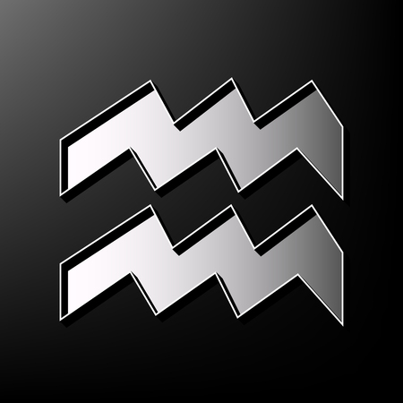 new age: Aquarius sign illustration. Vector. Gray 3d printed icon on black background.