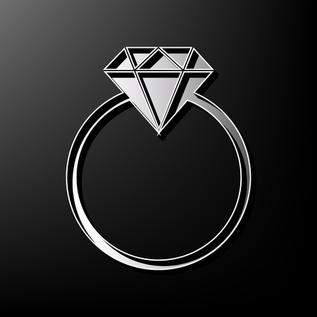 shiny buttons: Diamond sign illustration. Vector. Gray 3d printed icon on black background.