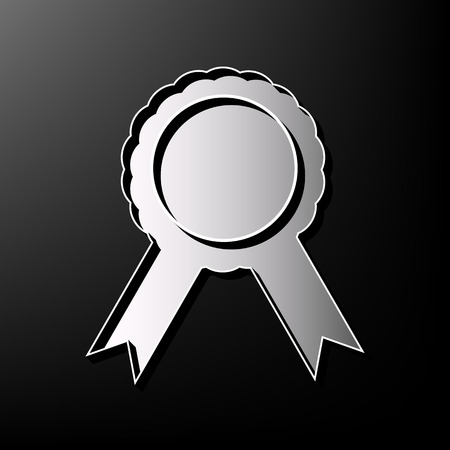 advantages: Label sign ribbons. Vector. Gray 3d printed icon on black background. Illustration