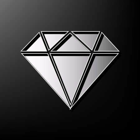 Diamond sign illustration. Vector. Gray 3d printed icon on black background.