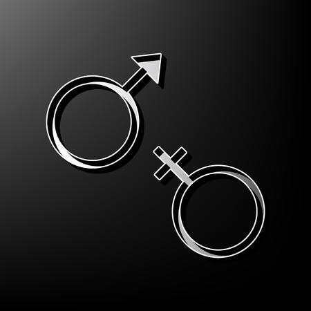 セックス シンボル サイン。ベクトル。黒の背景に 3 d 印刷アイコンをグレーします。