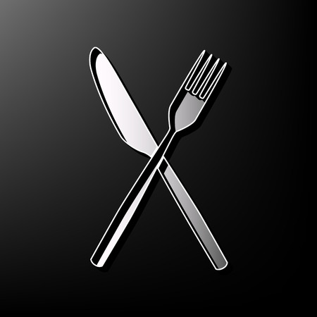 Fork and Knife sign. Vector. Gray 3d printed icon on black background.