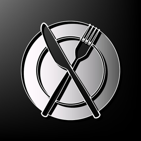 Fork, Knife and Plate sign. Vector. Gray 3d printed icon on black background. Illustration