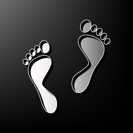 Foot prints sign. Vector. Gray 3d printed icon on black background.  イラスト・ベクター素材