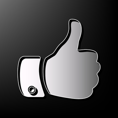 Hand sign illustration. Vector. Gray 3d printed icon on black background. Illustration