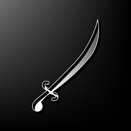 Sword sign illustration. Vector. Gray 3d printed icon on black background. Illustration