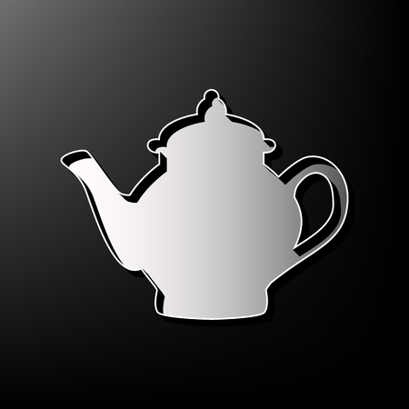 Tea maker sign. Vector. Gray 3d printed icon on black background.