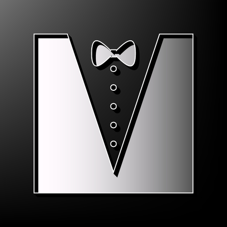 Tuxedo with bow silhouette. Vector. Gray 3d printed icon on black background. Stock Vector - 81801197