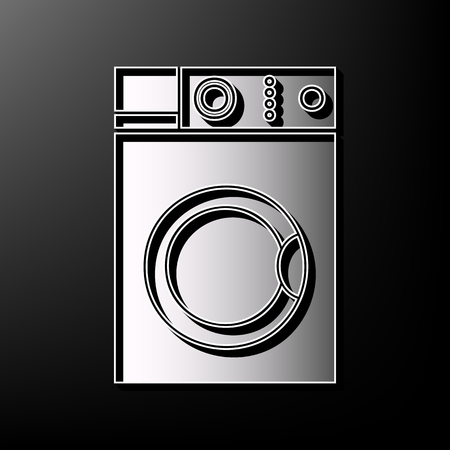 spinning: Washing machine sign. Vector. Gray 3d printed icon on black background.