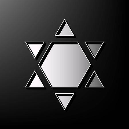 chanukkah: Shield Magen David Star Inverse. Symbol of Israel inverted. Vector. Gray 3d printed icon on black background.