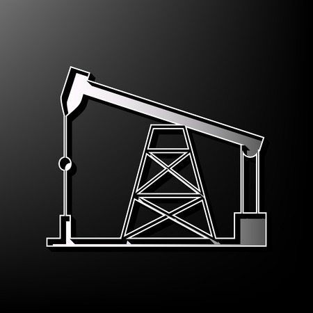 printed machine: Oil drilling rig sign. Vector. Gray 3d printed icon on black background. Illustration