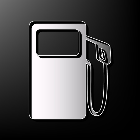Gas pump sign. Vector. Gray 3d printed icon on black background.