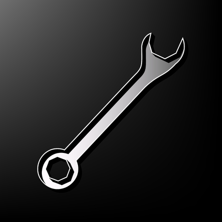 Crossed wrenches sign. Vector. Gray 3d printed icon on black background. Illustration