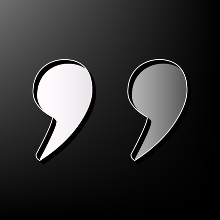 Quote sign illustration. Vector. Gray 3d printed icon on black background. Illustration