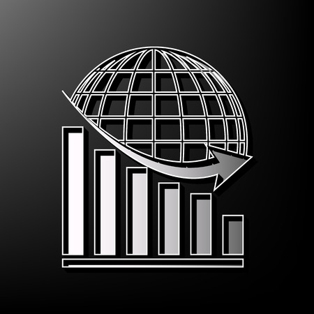 Declining graph with earth. Vector. Gray 3d printed icon on black background. Illustration