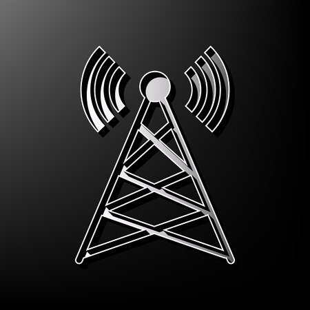tv tower: Antenna sign illustration. Vector. Gray 3d printed icon on black background. Illustration