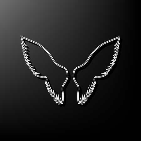 Wings sign illustration. Vector. Gray 3d printed icon on black background.