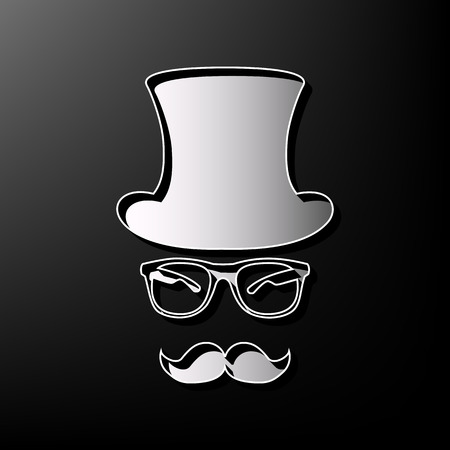 Hipster accessories design. Vector. Gray 3d printed icon on black background.