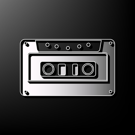 Cassette icon, audio tape sign. Vector. Gray 3d printed icon on black background. Çizim