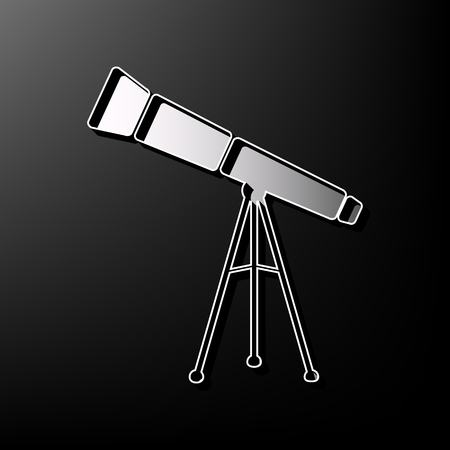 Telescope simple sign. Vector. Gray 3d printed icon on black background. Illustration