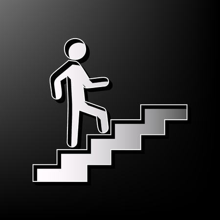 Man on Stairs going up. Vector. Gray 3d printed icon on black background.