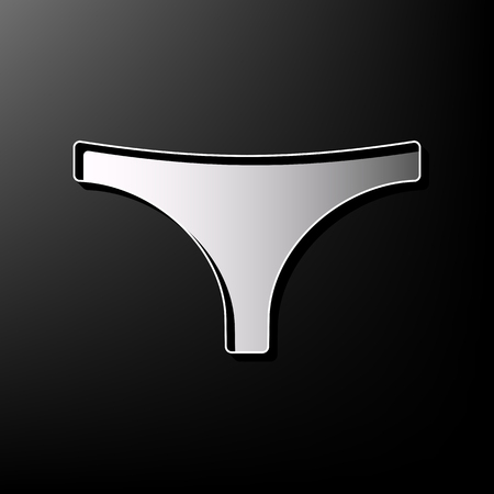 women s clothes: Womens panties sign. Vector. Gray 3d printed icon on black background. Illustration