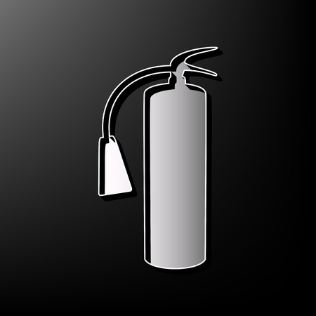 Fire extinguisher sign. Vector. Gray 3d printed icon on black background.