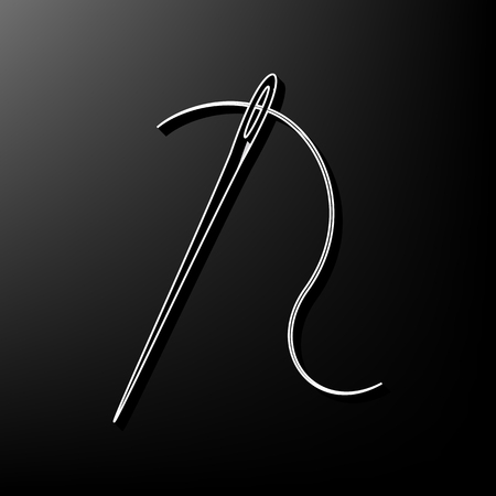 Needle with thread. Sewing needle, needle for sewing. Vector. Gray 3d printed icon on black background.