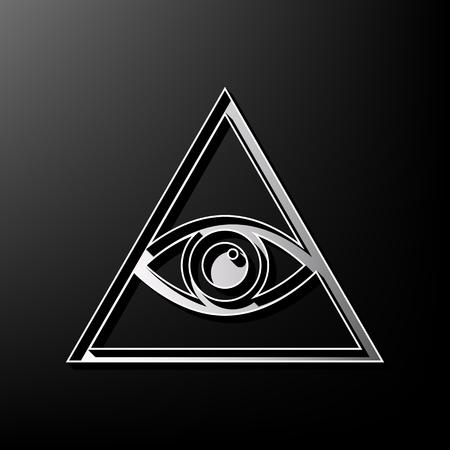 ojo de horus: Todos viendo el símbolo de la pirámide del ojo. Francmasón y espiritual. Vector. Icono impreso 3d gris sobre fondo negro.