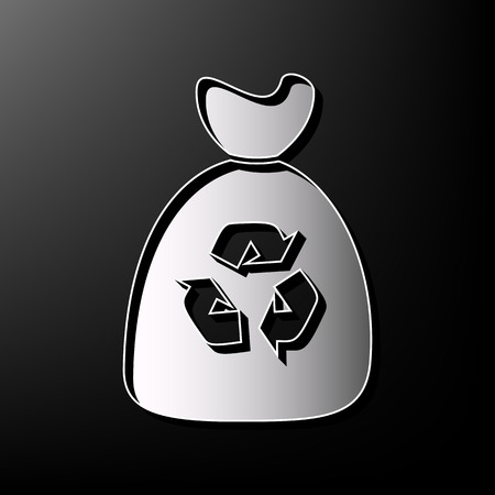 food waste: Trash bag icon. Vector. Gray 3d printed icon on black background.