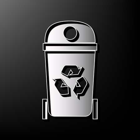 trashing: Trashcan sign illustration. Vector. Gray 3d printed icon on black background. Illustration