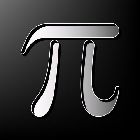 diameter: Pi greek letter sign. Vector. Gray 3d printed icon on black background. Illustration