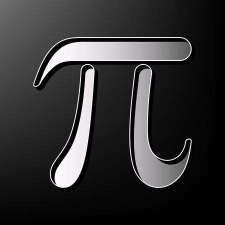 Pi greek letter sign. Vector. Gray 3d printed icon on black background. Illustration