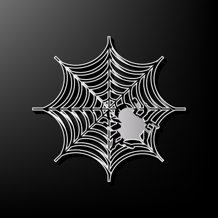 Spider on web illustration. Vector. Gray 3d printed icon on black background.