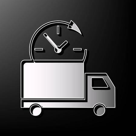 Delivery sign illustration. Vector. Gray 3d printed icon on black background. Illustration