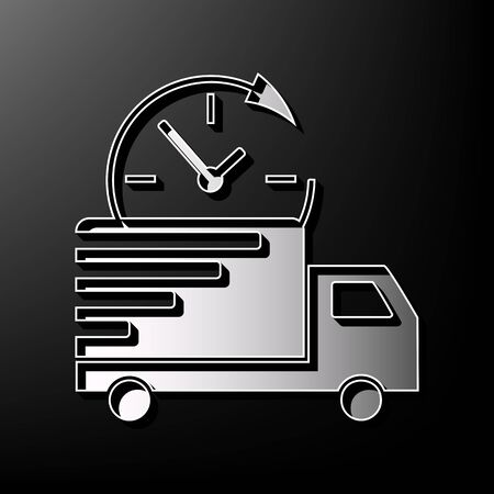 printed machine: Delivery sign illustration. Vector. Gray 3d printed icon on black background. Illustration