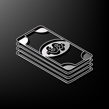 printed machine: Bank Note dollar sign. Vector. Gray 3d printed icon on black background. Illustration