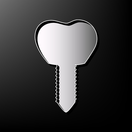 Tooth implant sign illustration. Vector. Gray 3d printed icon on black background.