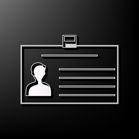 guests: Identification card sign. Vector. Gray 3d printed icon on black background. Illustration