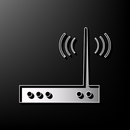 Wifi modem sign. Vector. Gray 3d printed icon on black background.