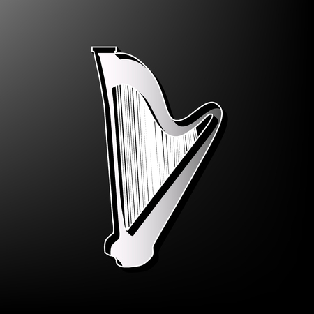 Musical instrument harp sign. Vector. Gray 3d printed icon on black background.