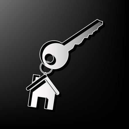 shiny buttons: key with keychain as an house sign. Vector. Gray 3d printed icon on black background.
