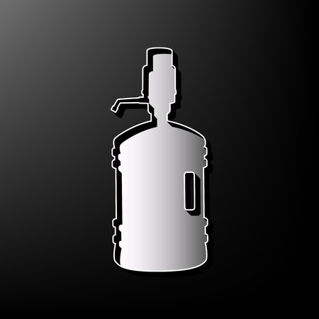 siphon: Plastic bottle silhouette with water and siphon. Vector. Gray 3d printed icon on black background.