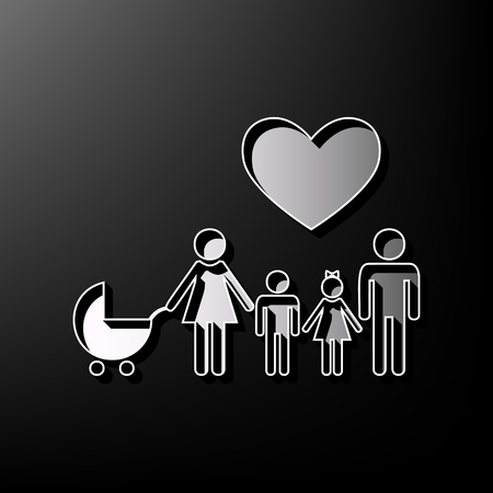 Family sign with heart. Husband and wife are kept childrens hands. Vector. Gray 3d printed icon on black background.