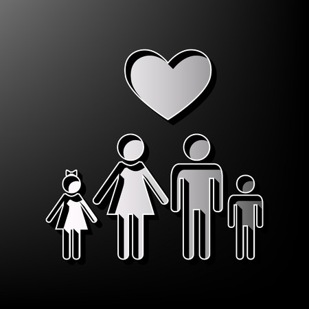 children silhouettes: Family symbol with heart. Husband and wife are kept childrens hands. Love. Vector. Gray 3d printed icon on black background.