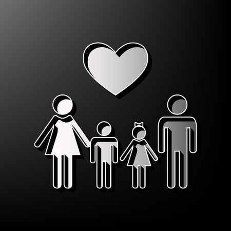 Family symbol with heart. Husband and wife are kept childrens hands. Vector. Gray 3d printed icon on black background.