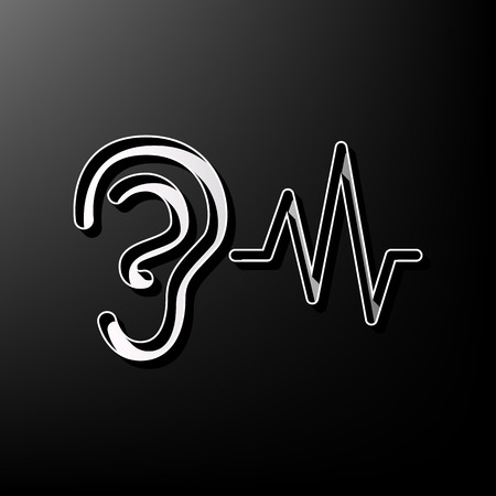 audible: Ear hearing sound sign. Vector. Gray 3d printed icon on black background.